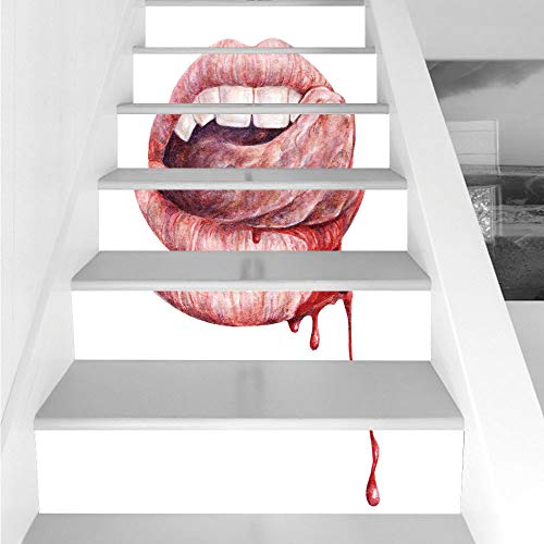 Stair Stickers Wall Stickers,6 PCS Self-adhesive,Vampire,Sexy Vampire Mouth Licking Blood Canine Teeth Taste Watercolor Drawing Artwork Decorative,Red Coral White,Stair Riser Decal for Living Room, Ha ()