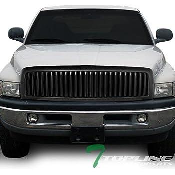 Topline Autopart Matte Black Vertical Front Hood Bumper Grill Grille ABS For 94-01 Dodge Ram 1500 ; 94-02 2500 / 3500
