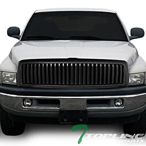 Topline Autopart Matte Black Vertical Billet Front Hood Bumper Grill Grille Cover Conversion 94-01/02 Dodge Ram 1500 2500 3500