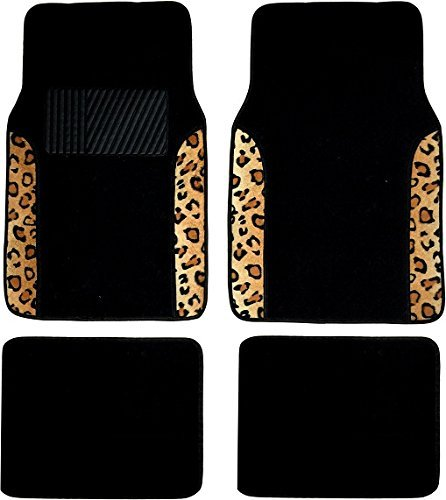 Animal Car Floor Mats (Two Tone 4 Piece Animal Print Floor Mats (Brown Tan Leopard))