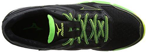 Mizuno Wave Daichi 2, Chaussures de Running Compétition Homme Noir (Black/Black/Green Gecko)