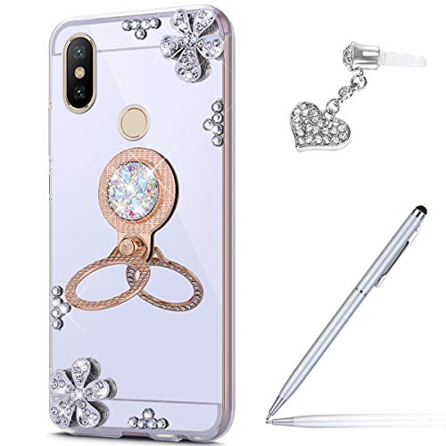 Price comparison product image Case for Xiaomi Mi A2 Lite Diamond Case, Crystal Inlaid diamond Flowers Rhinestone Diamond Glitter Bling Mirror Back TPU Case & Ring Stand + Touch Pen Dust Plug for Xiaomi Mi A2 Lite Mirror Case, Silver
