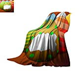 Egg Shell Bed Cover Bed Cover Painted Easter Eggs Without The Shell in The Center on a Brown Background Throw Blanket 60