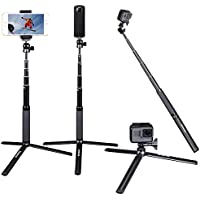 Smatree SmaPole SQ2 Telescoping Selfie Stick with Tripod Stand for GoPro Hero 5/4/3+/3/2/1/Session Cameras, Ricoh Theta S, M15 Cameras, Compact Cameras and Cell Phones
