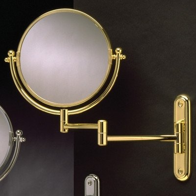 Wall-Mount Swinging Arm 4X Magnifying Mirror Finish: Polished Brass