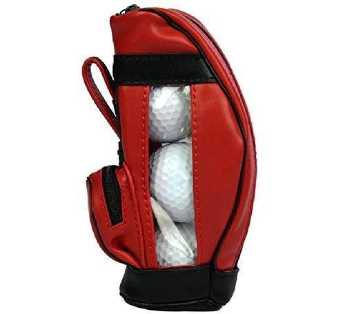 yuekuantai-1pcs Red PU Mini Golf Ball Holder Pouch, Golf Tees Accossory Storage Bag Small Waist Pack by yuekuantai