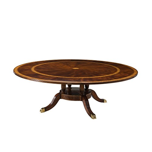 English Georgian America Large Regency Round Extension Dining Table, Traditional Dining Room Table, Antique Reproduction Dining Table, 19th Century Style ()