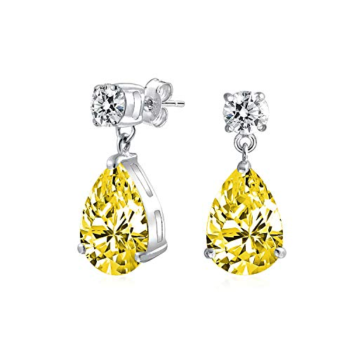 5CT Statement Simple Canary Yellow Cubic Zirconia AAA CZ Pear Shaped Teardrop Dangle Earrings For Women Sterling Silver
