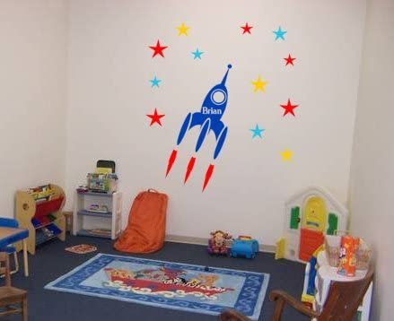 Amazon Com Rocket Ship Personalized Kids Room Decor Peel And Stick Stars 13 X 39 Inches Home Kitchen