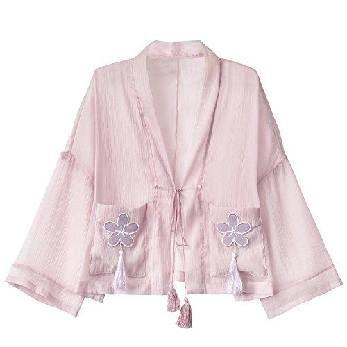(ライチ) Lychee レディースカーディガン 和式パーカー 羽織 日焼け止めコート タッセル飾 ピンク 桜刺繍 原宿風 復古 薄手 オーバーサイズ 着痩せ トップス
