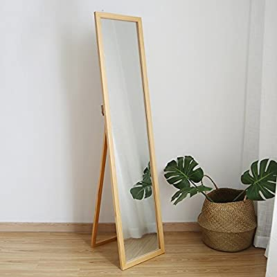 SHANGMENG simple wood floor mirror floor full-length mirror bedroom bracket fitting mirror wall mirror (35cm Brown) -  - mirrors-bedroom-decor, bedroom-decor, bedroom - 41dywaKO2XL. SS400  -