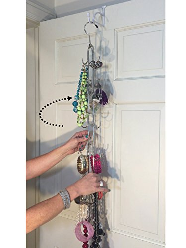 Boottique HANGING JEWELRY Organizer- Over Door Jewelry Storage; 360 ROTATING HOLDS OVER 100 PIECES; Necklaces, Bracelets, Statement Pieces, Earrings, Pearls, Rings; 12 Hooks, Chrome