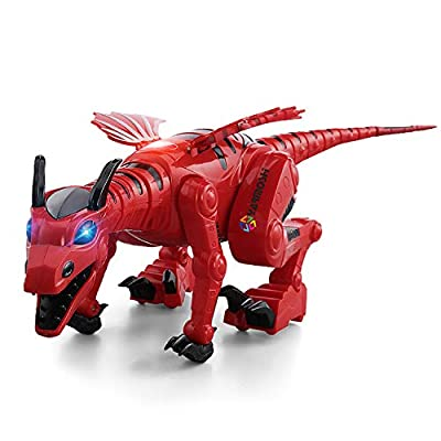 YARMOSHI Walking Dargon Robot Toy. Battery Operated, Music Playing, Gift for Girls and Boys Age 2+.