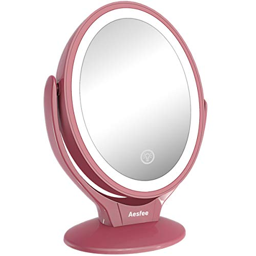 LED Lighted Makeup Vanity Mirror Rechargeable,1x/7x Magnification Double Sided 360 Degree Swivel - Led Bathroom Light Mirrors Halo
