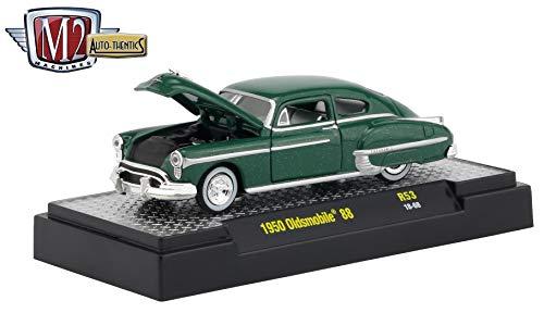 M2 Machines 1950 Oldsmobile 88 (Ivy Green Metallic) Auto-Thentics Series Release 53 - Castline 2019 Premium Edition 1:64 Scale Die-Cast Vehicle & Custom Display Case (R53 18-68)