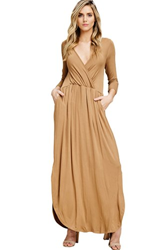 Quarter Sleeve Wrap - Annabelle Women's Knit Solid Print Quarter Sleeve V-Neck Wrap Maxi Dress with Round Hem and Side Slit New Camel Small D2541B
