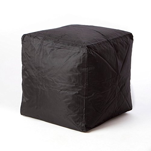 Footstool Bean Bag (Bean Bag Cube Ottoman Footstool (Black) | | Nylon Fabric - Hand Filled in the USA | 16 x 16 x 16 inches |)