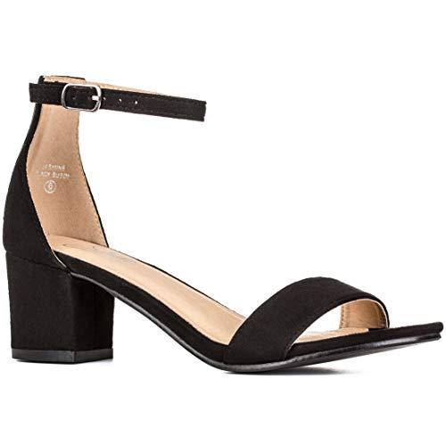 Women's Fashion Ankle Strap Kitten Heel Sandals - Adorable Cute Low Block Heel - Jasmine (8.5, Black)