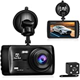 【2018 Upgraded】 Dash cam 4'' LED Big Screen 1080P Full HD Car Camera with Rear View Camera,Night Vision, G-Sensor, Wide Angle and Motion Detection Dashboard Cam(AN180907)