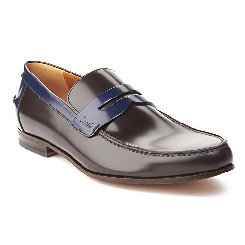Gucci Men's Leather Two-Tone Loafer Shoes Dark Brown Royal Blue (Gucci Shoes Mens Leather)