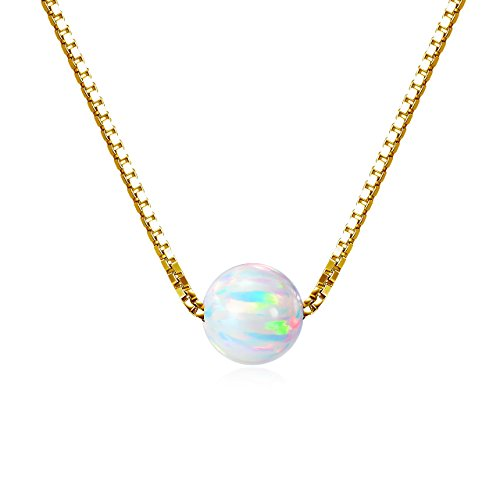 18k Gold over Sterling Silver 6mm Created Opal Choker Necklace 14