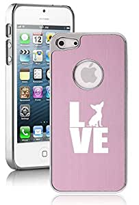 Apple iPhone 5c Aluminum Plated Chrome Hard Back Case Cover Love Chihuahua (Pink)