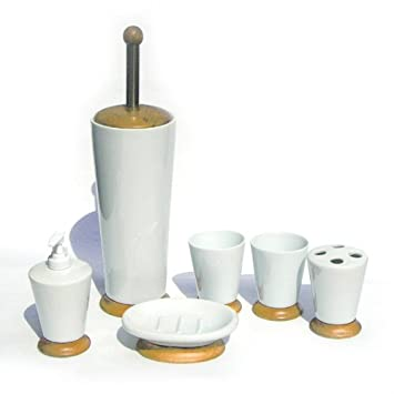 6tlg Porzellan und Holz Bad Set Badezimmer Accessoires - Seifenspender  WC-Garnitur Zahnputzbecher Zahnbürstenhalter Seifenschale