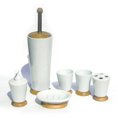 6tlg Porzellan und Holz Bad Set Badezimmer Accessoires ...
