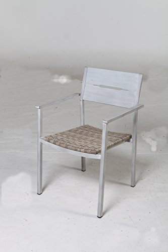 """Pebble Lane Living All Weather Rust Proof Indoor/Outdoor 7 Piece Cast Aluminum Patio Dining Set, 1 Slat Top Dining Table & 6 Rattan Wicker Dining Chairs, Wood/Grey - 6 Weather Resistant Aluminum Hand Painted Powder Coated Patio Dining Chairs Stacking Chairs with arms have a grey all weather UV Rattan Wicker Seat Aluminum Patio Dining Chair Dimensions: 22"""" W x 22"""" D x 33.5"""" H - patio-furniture, dining-sets-patio-funiture, patio - 41dyy6fF7zL -"""