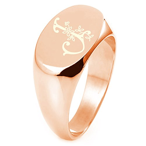 Rose Gold Plated Sterling Silver Letter J Initial Floral Monogram Engraved Oval Flat Top Polished Ring, Size 6 (Engraved Oval Ring)