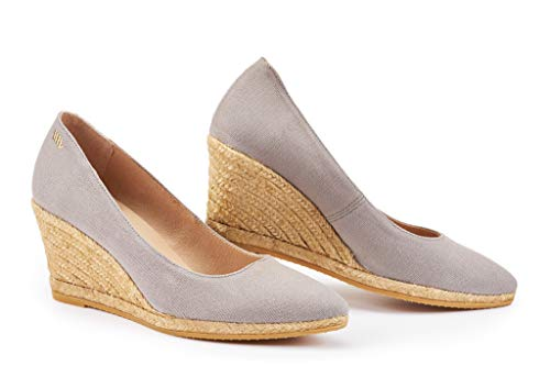 VISCATA Roses 2.75-inch Elegant Style, Soft Canvas, Slip-on Wedge Pump, Espadrilles Heel Made in Spain, Ash, 38