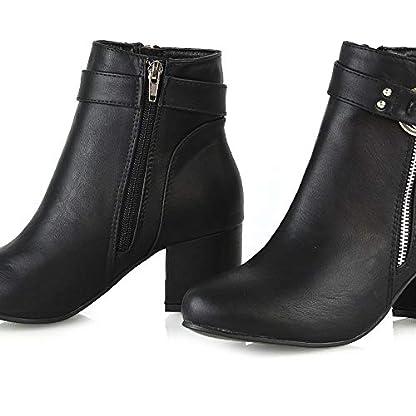 ESSEX GLAM Womens Ankle Boots Block Low Mid Heel Ladies Zip Buckle Strap Smart Booties Shoes 6