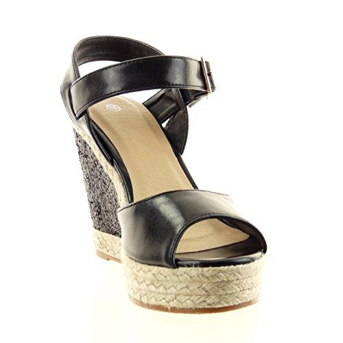 Sopily - Chaussure Mode Sandale Espadrille Cheville femmes boucle pailettes corde Talon compensé 11 CM - Noir