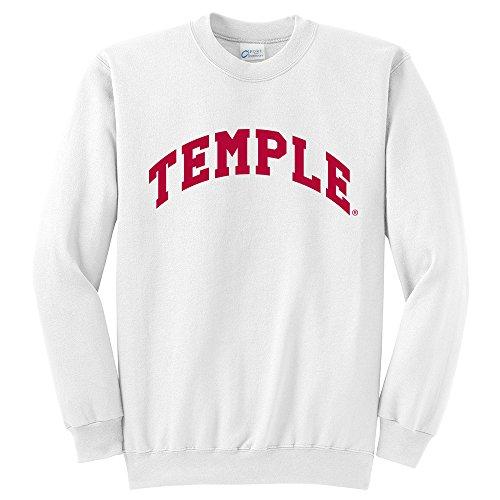 Campus Merchandise NCAA Temple University Arch Classic Crewneck Sweatshirt, White, - Clothing Classic Apparel