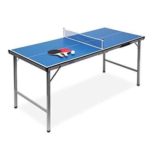Relaxdays Midi Tischtennistisch (150 x 67 x 71 cm) tragbar für Wohnzimmer & Garten mit Ball & Schläger - Tischtennisplatte Outdoor mit Tischtennis-Set zum Zusammenklappen & Tragen