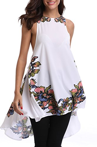 18 Misses Tops (MISS MOLY Women's Floral Printed Round Neck Sleeveless Tunic T-Shirt Tops X-Large)