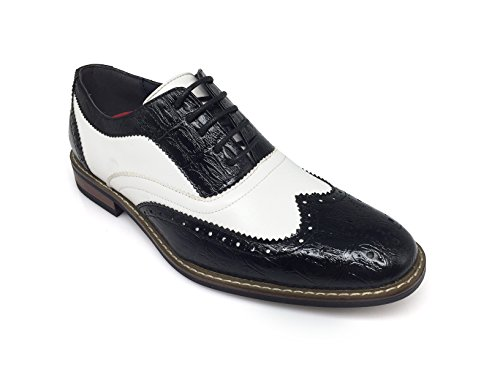 Black And White Clown Shoes (Men's Classic Italy Modern Oxford Wingtip Captoe 2-Tone Lace Dress Shoes (12, CONRAD3_BLACK/WHITE))