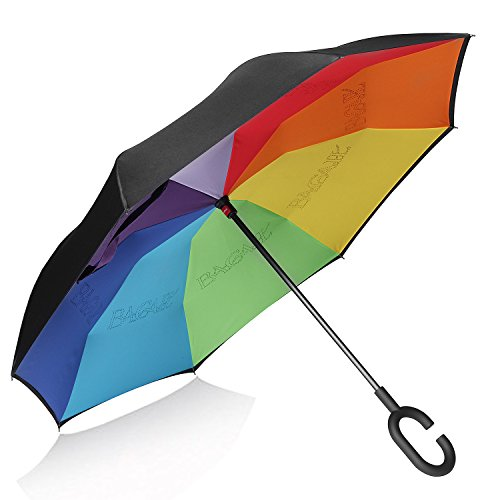Bagail Double Layer Inverted Umbrellas Reverse Folding Umbrella Windproof UV Protection Big Straight Umbrella for Car Rain Outdoor With C-Shaped Handle Rain Bow
