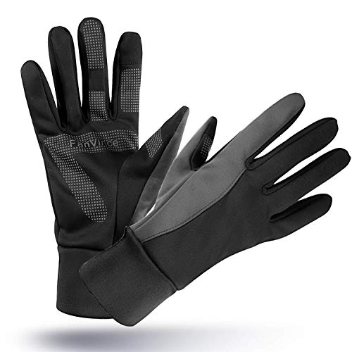 Winter Gloves Warm Glove with Touch Screen Fingers Windproof Water Resistant for Running/Cycling/Driving/Snow Skiing/Ice Fishing in Cold Weather for Women and Men (Medium, Black-Gray)