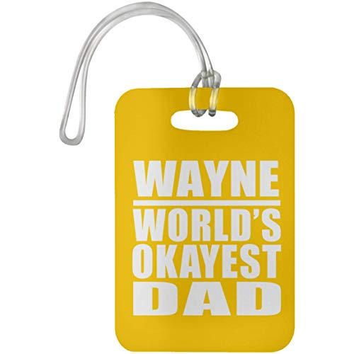 Wayne World's Okayest Dad - Luggage Tag Athletic Gold/One Size, Travel Cruise Suitcase Bag-gage Tag