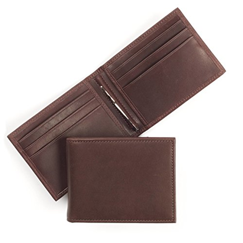 Leatherology Men's Bifold Wallet with Spring Money Clip - RFID Available - German Leather - Mahogany (Mahogany Money Clip)