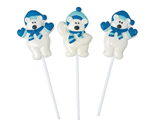 Polar Bear Frosted Suckers (12 Pack) - Stocking Stuffers & Toys & Candy -