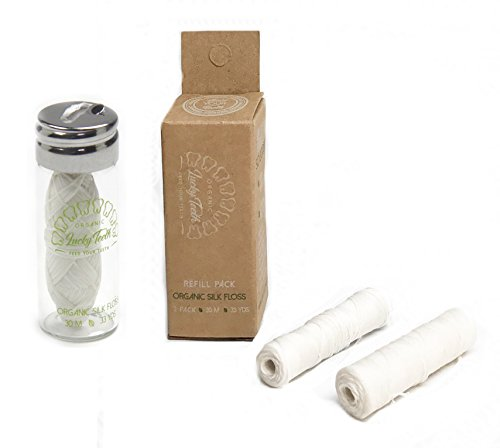 (Organic Silk Floss in Glass Jar + REFILLS with Tea Tree and Peppermint essential oils 90 m/99 yds total - by Lucky Teeth (1+2 Pack))