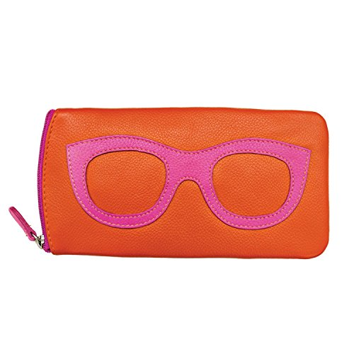 "Women's Leather Eyeglasses Case - Zipper Close - 7"" x 4"" - Orange with Hot Pink"