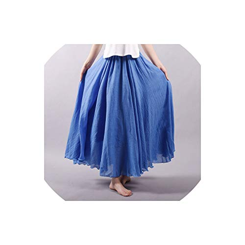 Kaka-home Long Skirts Elastic Waist Pleated Skirts Beach Vintage Summer Skirts,Color 4,L
