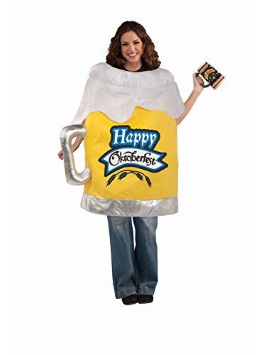 Forum Unisex Oktoberfest Beer Mug Costume, Yellow/White, Standard -