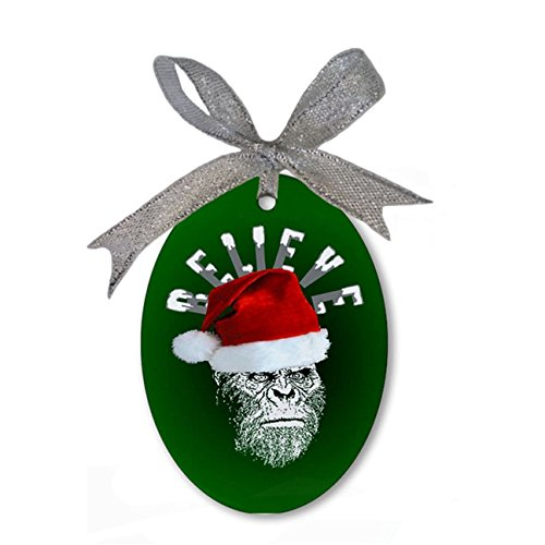 Sasquatch Bigfoot Santa BELIEVE Custom Personalized Porcelain Oval Christmas Ornament Hanging Gift