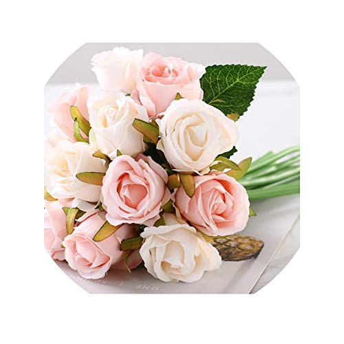 12pcs/lot Silk Artificial Flower Fake Floral Rose Flower Rose for Home Hotel Office Wedding Party Garden Craft Art Decor,Pink White ()