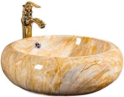 洗面ボウル レトロラウンドセラミックカラーの上カウンター浴室容器シンクアート盆地 浴室の台所の流し (Color : Yellow, Size : 50x50x16.5cm)