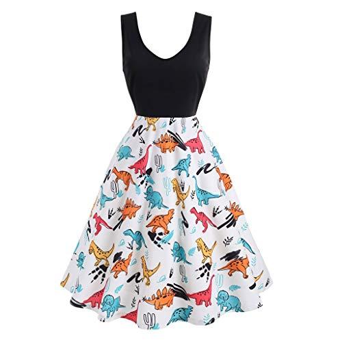 (Lefthigh Women Pachwork Backless Sleeveless Dress Animal Printed V-Neck Black)